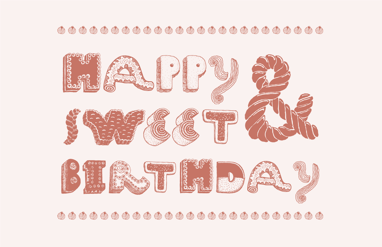 sweets font Happy birthday